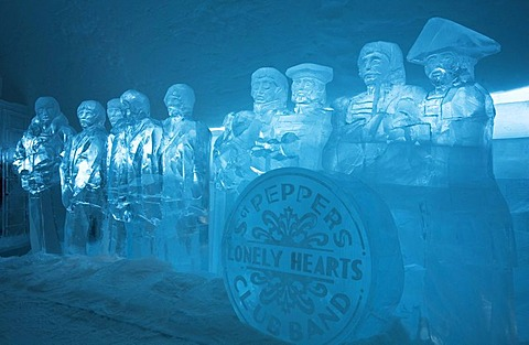 "Firgures made from ice clocks in the ice hotel of Jukkasjaervi, imitating the cover of the Beatles-LP ""Sergeant Peppers Lonely Hearts Club Band"", Jukkasjaervi, Lappland, Northern Sweden"