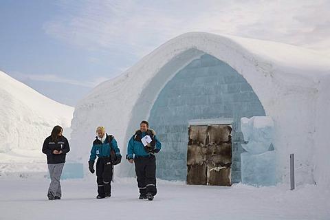 Entrance to the ice hotel of Jukkasjaervi, Lappland, Northern Sweden