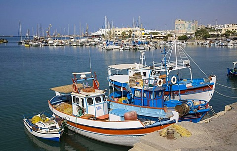 Fishing boats in the Venetian harbor of Heraklion, island of Crete, Greece, Europe