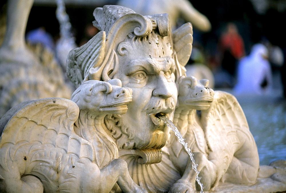 Fountain statue, sea creature with a dragon, Fontana del Moro Fountain, Piazza Navona, Rome, Lazio, Italy, Europe