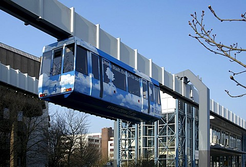 H-Bahn, hanging railway on the campus of the Technische Universitaet, Institute of technology, Dortmund, Ruhr area, North Rhine-Westphalia, Germany, Europe