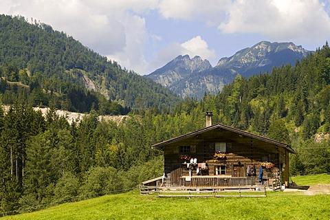 Zoettbach-cabin, Brandenbergtal Valley, Tyrol, Austria, Europe