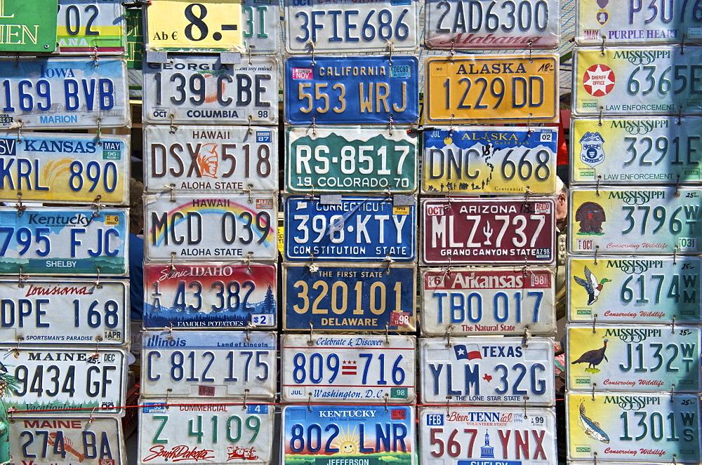 American car license plates, flea and antiques market at Naschmarkt makret, in the 6th Mariahilf district of Vienna, at the Wienzeile street, Vienna, Austria, Europe