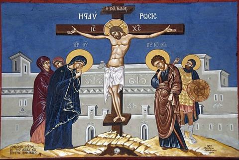Greek Orthodox Christianity, painting, Jesus Christ on the cross, Moni Ipsilou monastery, Lesbos Island, Aegean Sea, Greece, Europe
