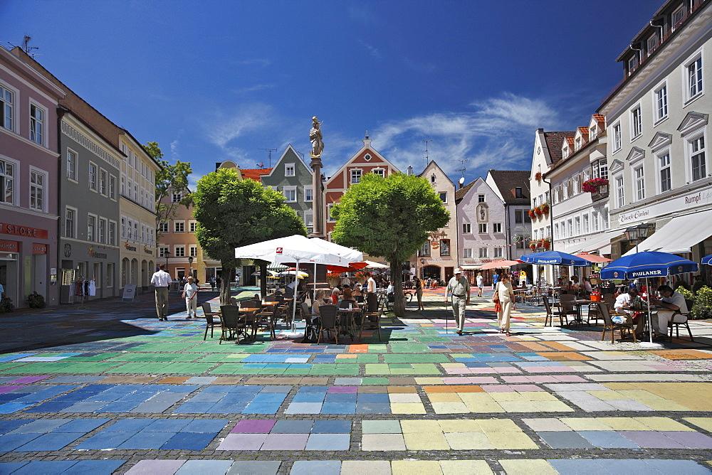 Marienplatz, 1909, Wassily Kandinsky, pavement painting, the world's largest Kandinsky, artists Florian Lechner and Annette Koelbl-Rill, Weilheim, Upper Bavaria, Bavaria, Germany, Europe