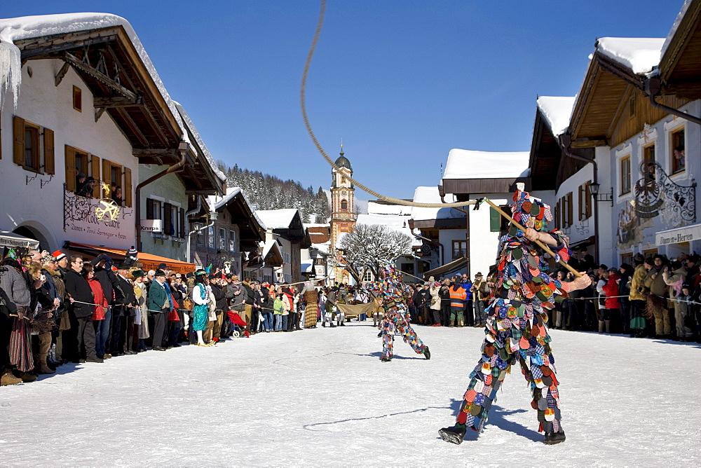 """Goasslschnalzer"" whip crackers, carnival, Mittenwald, Werdenfels, Upper Bavaria, Bavaria, Germany, Europe"