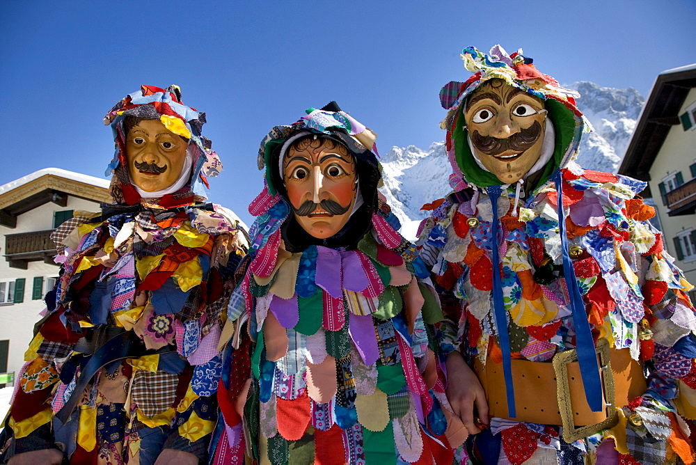 Traditional costumes, carnival, Mittenwald, Werdenfels, Upper Bavaria, Bavaria, Germany, Europe