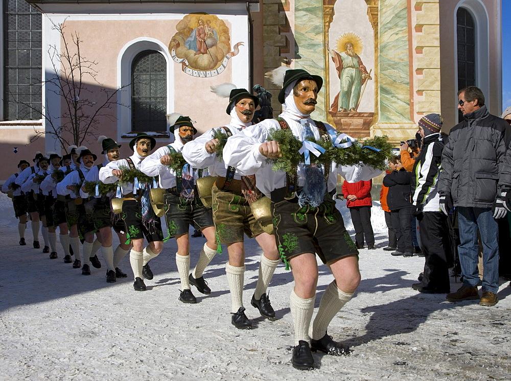 """""""Schellenruehrer"""" bell ringers, carnival, Mittenwald, Werdenfels, Upper Bavaria, Bavaria, Germany, Europe"""