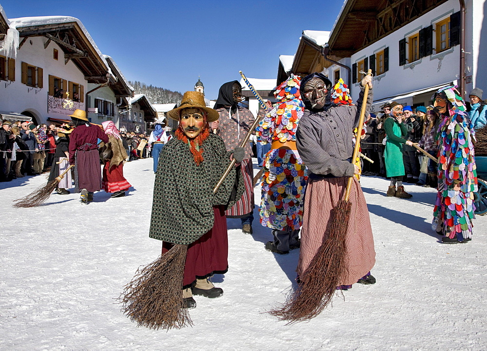"""""""Beserer"""", witches with brooms, besoms, carnival, Mittenwald, Werdenfels, Upper Bavaria, Bavaria, Germany, Europe"""