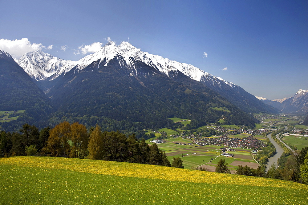 View of the Inntal valley, Pfaffenhofen, Hocheder in the Stubai Alps, dandelion meadow, Oberinntal Upper Inn Valley, Tyrol, Austria, Europe
