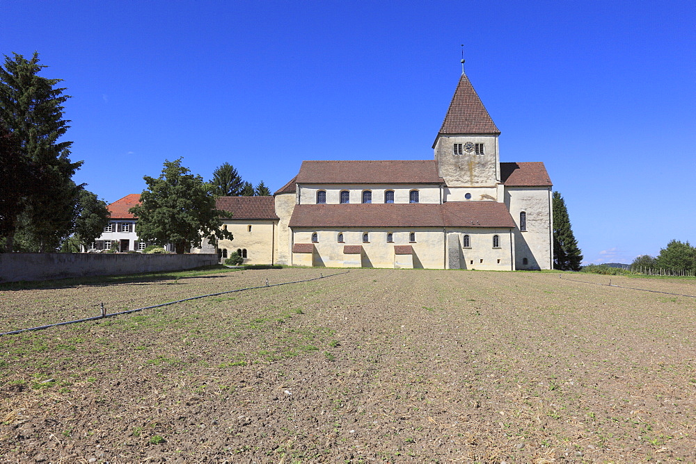 Late Carolingian and Ottonian constructed Basilica of St. George in Oberzell, Reichenau Island, Lake Constance, Konstanz district, Baden-Wuerttemberg, Germany, Europe