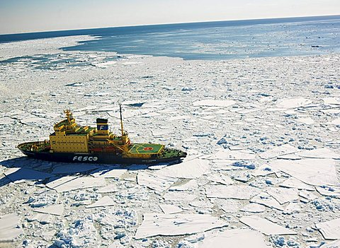 Icebreaker Capt. Khlebnikov steering through pack ice off the coast of Franklin Island, Antarctica