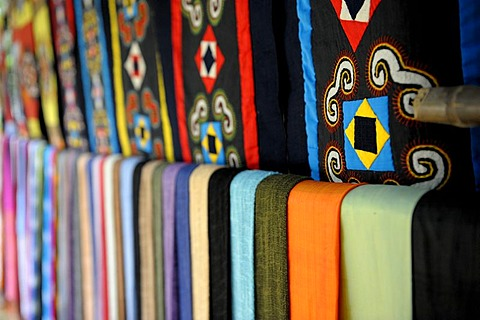 Row of cloths in different colours and patterns, Ninh Binh, North Vietnam, South East Asia