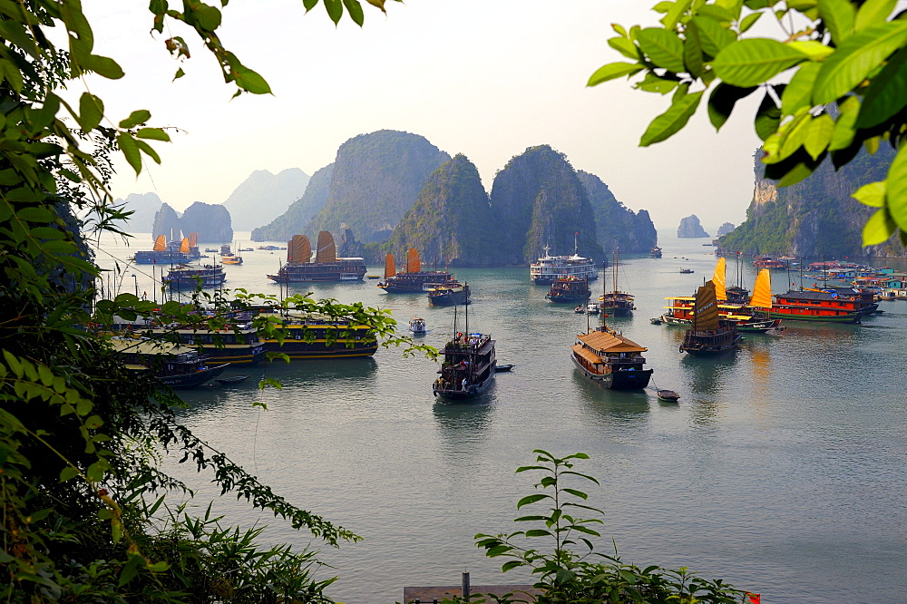 Ships in front of rock formations, Halong Bay, Vietnam, Southeast Asia