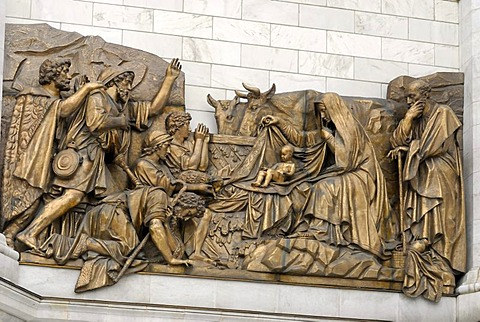 Fragment of facade with high relief of Bible scene, Cathedral of Christ the Saviour, Moscow, Russia