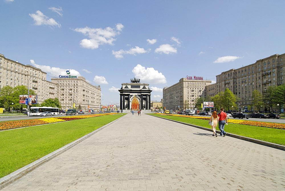 Triumphal arch at Kutuzovski Avenue, Moscow, Russia