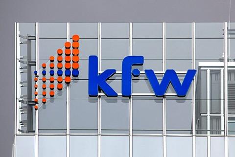 Logo at the headquarters of the KfW banking group, Kreditanstalt fuer Wiederaufbau, Reconstruction Loan Corporation, Frankfurt am Main, Hesse, Germany, Europe