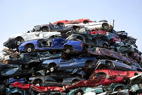 Old cars at a scrapyard