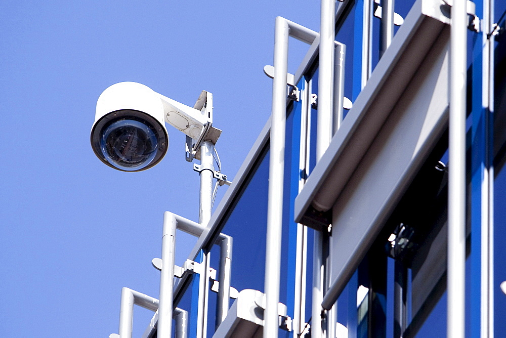 Surveillance camera at the corporate headquarters of the Fresenius SE company in Bad Homburg von der Hoehe, Hesse, Germany, Europe