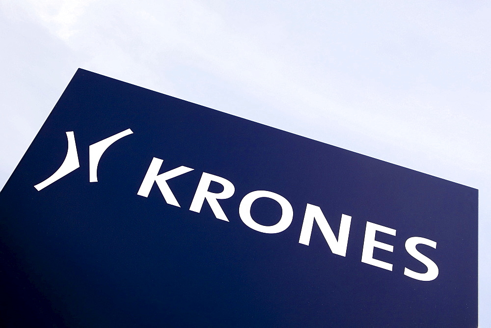 Logo of the Krones AG company on a factory hall in Neutraubling, Bavaria, Germany, Europe