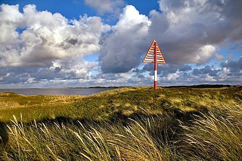 Sea mark in the dunes on Lister Ellenbogen, north-western edge of the island, Sylt Island, North Frisia, Schleswig-Holstein, Germany, Europe