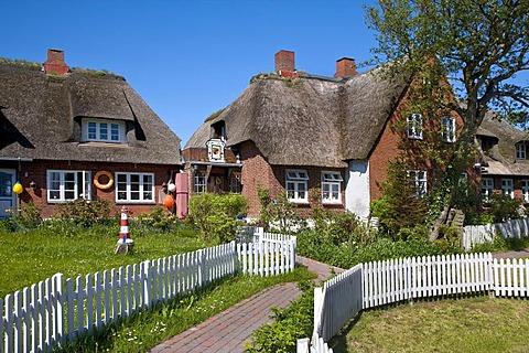 Village centre, Hallig Oland, North Frisia, Schleswig-Holstein, Germany, Europe