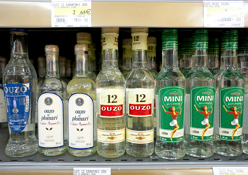 Different brands of Ouzo on a shelf in a Cypriot supermarket, Cyprus, Europe
