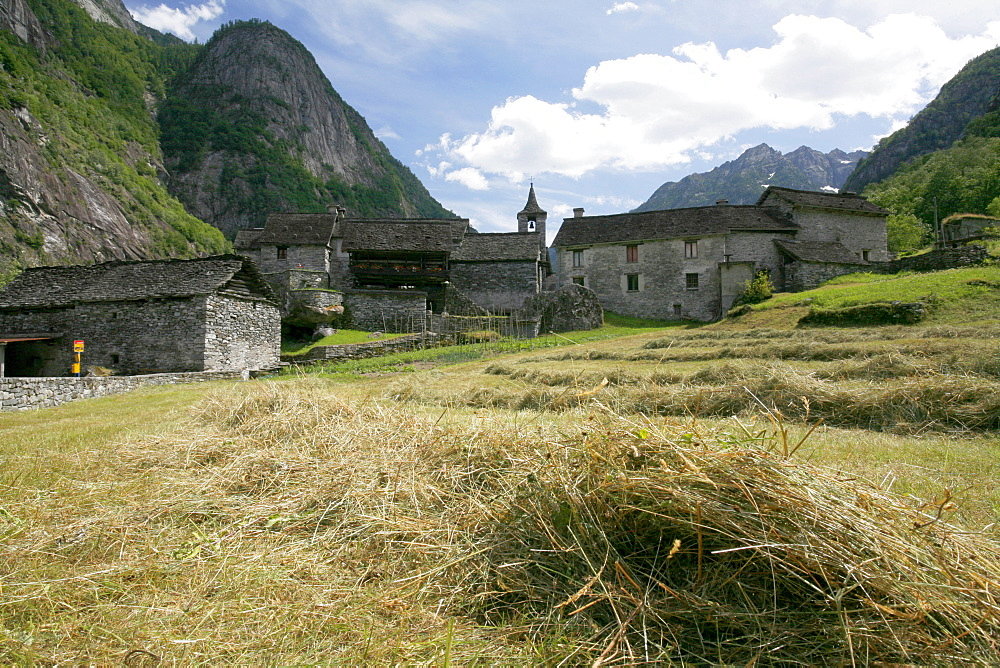 Mown grass in front of a Rustici made of stone in Sonlert, hamlet in the Val Bavona, a side valley of the Valle Maggia, Ticino, Switzerland, Europe