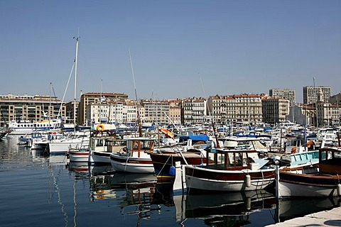 Marina, sport's boat harbour, Marseille harbour, Southern France, Europe