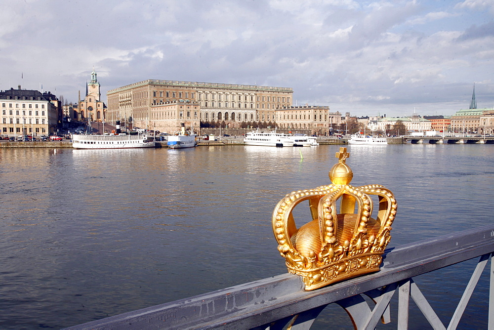 Castle and crown in Stockholm, Sweden, Scandinavia, Europe