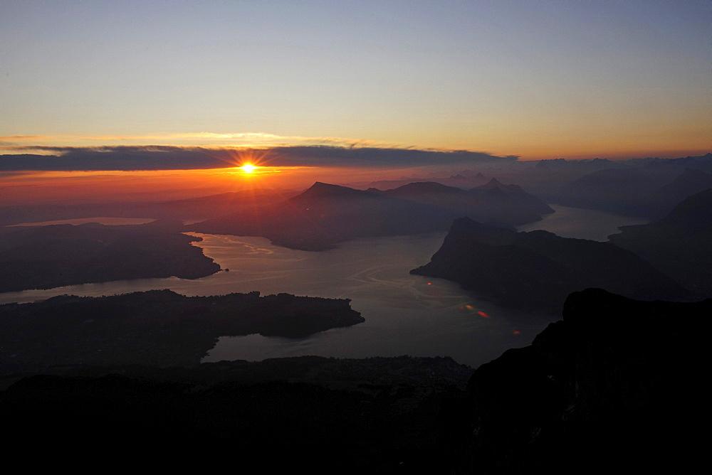 Sunrise over Lake Lucerne seen from Mount Pilatus, Switzerland, Europe