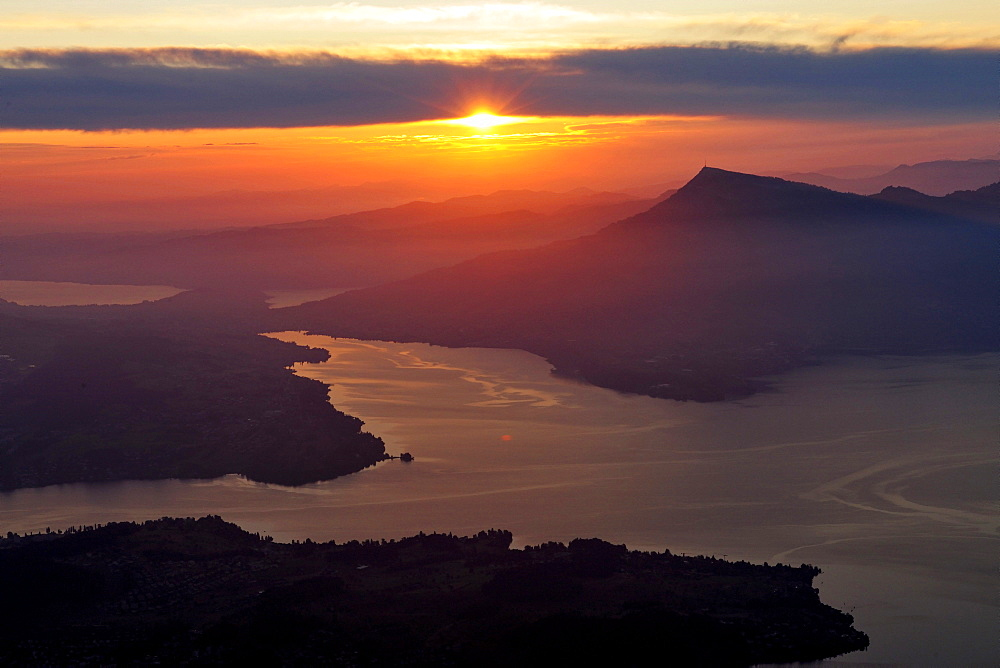 Sunrise over Lake Lucerne with view on the the Rigi mountain from Mount Pilatus, Switzerland, Europe