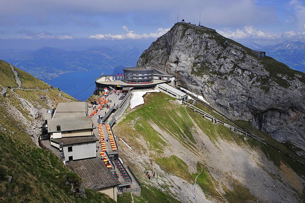 Hotel Pilatus Kulm and Bellevue on Mount Pilatus, popular tourist's destination, near Lucerne, views of Lake Lucerne, Switzerland, Europe