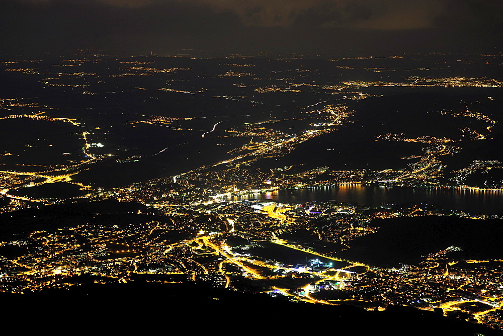 View at night from the top of Mount Pilatus, popular tourist's destination, on Lucerne on Lake Lucerne, Switzerland, Europe