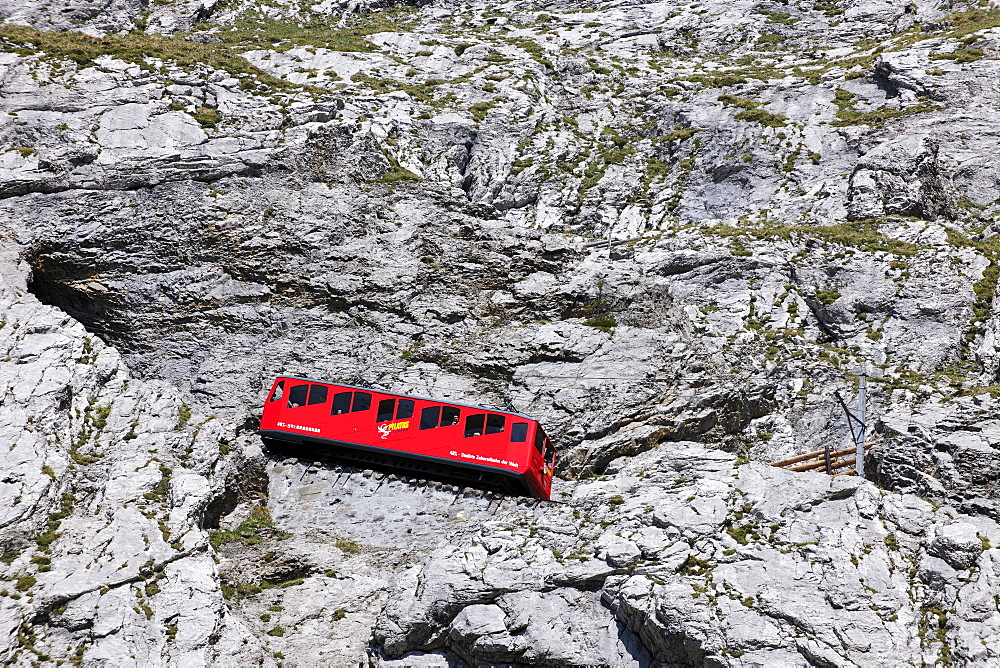 With 48 percent incline the steepest cog railway in the world, railway on Mount Pilatus near Lucerne, Switzerland, Europe