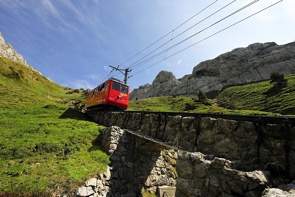 Cogwheel railway to Mount Pilatus, a recreational mountain near Lucerne, the 48% gradient making it the steepest cogwheel railway in the world, Switzerland, Europe