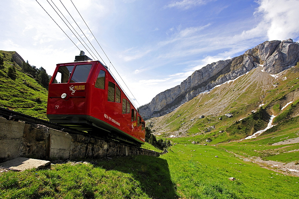 Cogwheel railway to Mount Pilatus, a recreational mountain near Lucerne, the 48% gradient making it the steepest cogwheel railway in the world, Switzerland, Europe