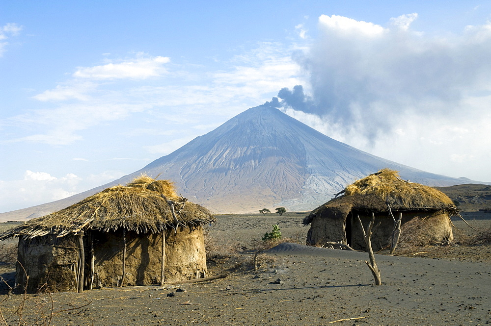 Abandoned Maasai huts, eruption of Ol Doinyo Lengai volcano in 2007, northern Tanzania, Africa