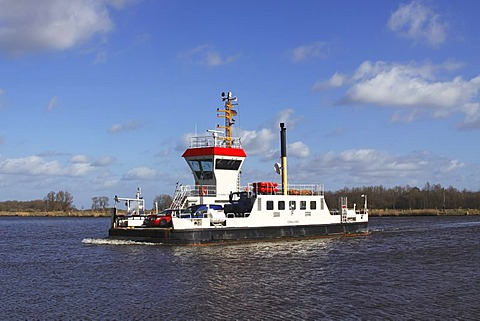 Ferry crossing the Kiel-Canal, Breiholz, Rendsburg-Eckernfoerde district, Schleswig-Holstein, Germany