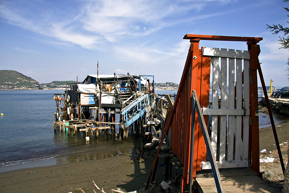 Bizzarre hut for fishing on the seashore, Gulf of Baia, Bacoli, Pozzuoli, Naples, Campania, Italy, Europe