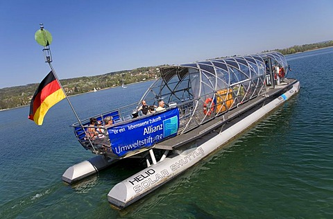 Solar-powered ferry heading towards Gaienhofen, near Steckborn, Untersee, Lake Constance, Switzerland, Europe - 832-240611
