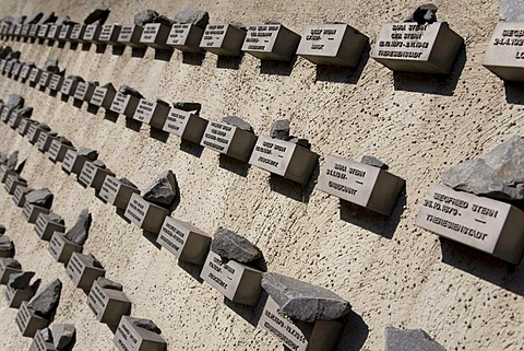 Memorial plaques on the exterior wall, Old Jewish Cemetery, Holocaust, extermination of the Jews, Frankfurt, Hesse, Germany