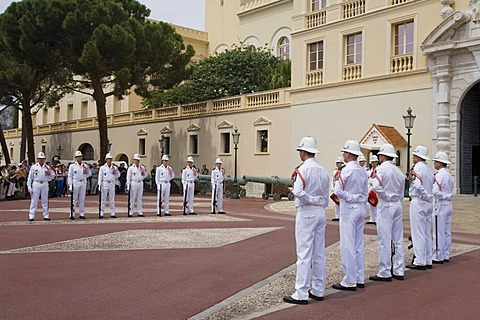 Changing of the guard in front of the Prince's Palace, parade, guards, Monaco, Cote d'Azur, France
