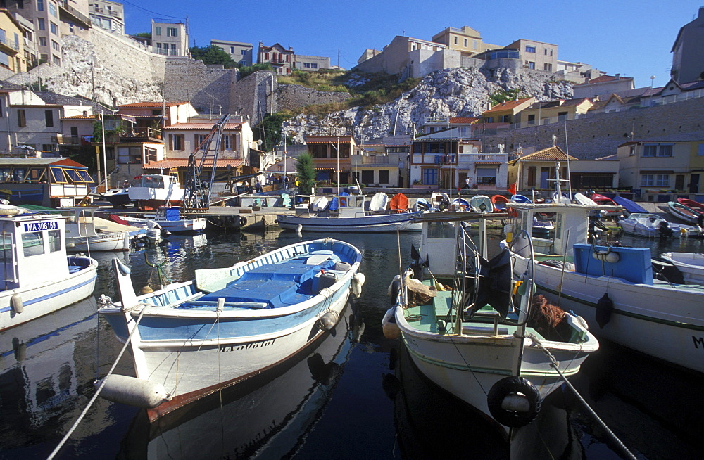 Fishing boats, harbor, Vallon des Auffe, Marseille, Provence, France, Europe