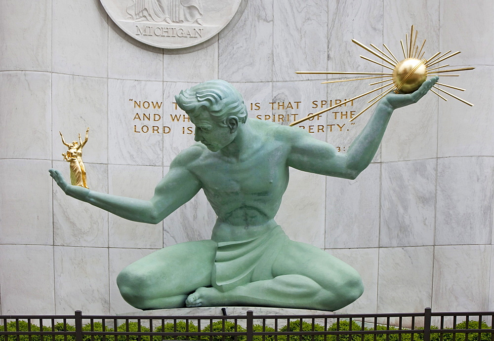 The Spirit of Detroit Sculpture, Detroit, Michigan, USA, North America