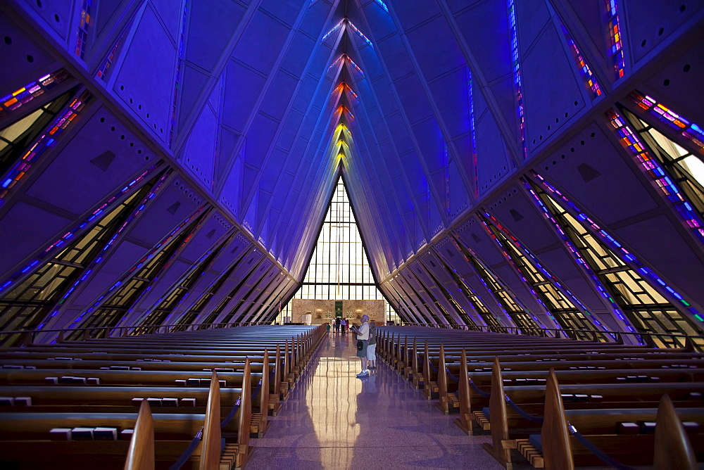 The inside of the Cadet Chapel at the United States Air Force Academy, Colorado Springs, Colorado, USA