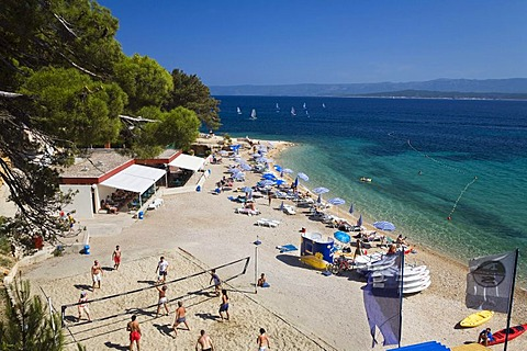 Volleyball on the Beach of Bol, Brac Island, Dalmatia, Croatia, Adriatic Sea, Mediterranean, Europe