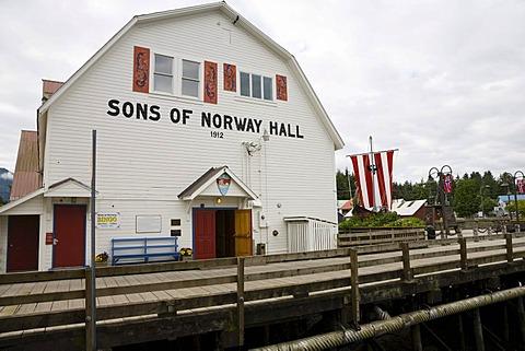 Fishermen's Memorial Park, Sons of Norway Hall, Petersburg, Inside Passage, Alaska, USA