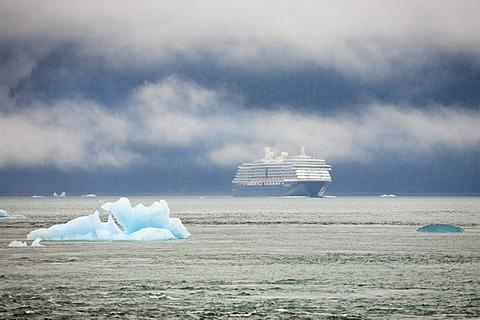 Cruise ship and iceberg, Inside Passage, Alaska, USA, North America