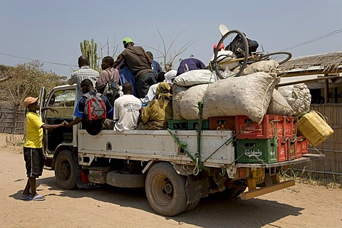 Shared taxi, fully loaded truck, Cape Maclear Peninsula, Lake Malawi, Malawi, South East Africa